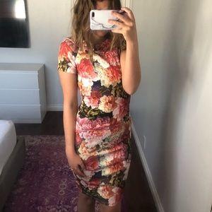 🆕ASOS Floral Scuba Wiggle Dress V Back w/ Collar